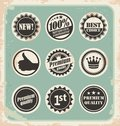 Set of promotional retro labels, badges, stamps and stickers Stock Image