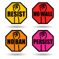 Set of protest signs with raised fist. Royalty Free Stock Photo