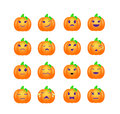 A set of pumpkin emotions. Vector smileys Royalty Free Stock Photo