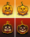 Set of pumpkins, day and night, on Halloween Stock Images