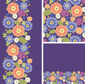 Set of purple flowers seamless pattern and borders vector backgrounds Royalty Free Stock Image