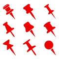 Set push pin sign icons for web site, page and mobile app design element. Push pins pinned in different angles Royalty Free Stock Photo