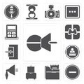 Set of Push pin, Substract, Folder, Television, Speaker, Login, Royalty Free Stock Photo