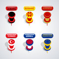 Set of pushpins, vector illustration. Royalty Free Stock Photo