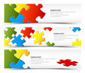 Set of puzzle horizontal banners Royalty Free Stock Images