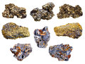 Set of pyrite and chalcopyrite minerals isolated on white background Royalty Free Stock Photos