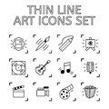Set of 12 Quality Icons Art Theme - Drawing and Painting, Music,