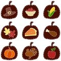 Set of quilted Thanksgiving icons Royalty Free Stock Photo
