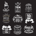 Set of quote typographical background about hot chocolate tea and coffee