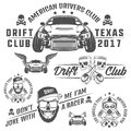 Set of racing and drift elements design,skull racer and piston skull labels ,emblems and logo.black and white