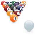 Set of racked pool balls Stock Image