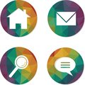 Set of rainbow hippie web buttons. Home, email, search, chat icons. Royalty Free Stock Photo