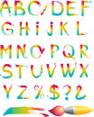 Set of rainbow letters alhabet Stock Image
