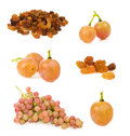 Set of raisins and grapes over white Royalty Free Stock Photo