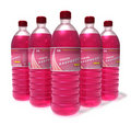 Set of raspberry drinks in plastic bottles Royalty Free Stock Image