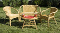 Set of rattan furniture on green grass in the yard Royalty Free Stock Photo