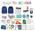 Set a real of back to school object vector