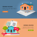Set of Real Design Houses Vector Web Banners. Royalty Free Stock Photo