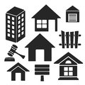 Set of real estate universal web and mobile vector icons interface logo isolated on white symbols Stock Photo
