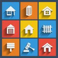 Set of real estate web and mobile icons vector in flat design Royalty Free Stock Photo