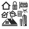 Set of real estate web and mobile icons vector interface logo isolated on white Royalty Free Stock Photo