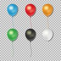 Set of realistic balloons isolated on transparent background. Vector illustration.