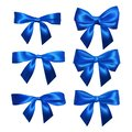 Set of Realistic blue bows. Element for decoration gifts, greetings, holidays, Valentines Day design. Vector illustration