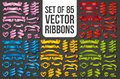 Set of Realistic color ribbons. Element of decoration gifts, greetings, holidays, Valentines Day design. Vector
