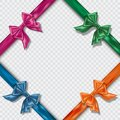 Set of Realistic colorful satin bows and ribbons on checkered background. Template for brochure or greeting