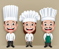 Set of Realistic 3D Chef Man and Woman Characters Royalty Free Stock Photo