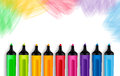 Set of realistic d colorful markers in a brushed white background with texture for back to school with white space for message Royalty Free Stock Photo