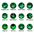 Set of realistic green emeralds with round cuts Royalty Free Stock Photo