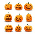 Set of realistic Halloween pumpkins isolated on white background Royalty Free Stock Photo