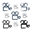 Set of realistic ink hand-drawn vector video camera Royalty Free Stock Photo