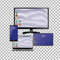 Set of realistic laptop, tablet and mobile phone with empty screen. Isolated on transparent background
