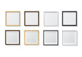 Set of Realistic Light Wood Blank Picture Frames and Dark Wood B Royalty Free Stock Photo