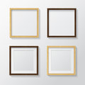 Set of Realistic Light Wood Blank Picture Frames and  Dark Wood Royalty Free Stock Photo