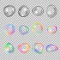 Set realistic soap bubbles, different colors, shapes, on transparent background. Royalty Free Stock Photo