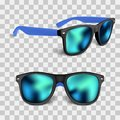 Set of realistic sunglass with blue lens isolated on backgroud. vector illustration