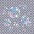 Set of realistic transparent colorful soap  bubbles. Royalty Free Stock Photo