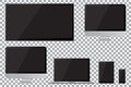 Set of realistic TV, lcd, led, computer monitor, laptop, tablet and mobile phone with empty black screen. Royalty Free Stock Photo
