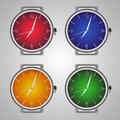Set of realistic wrist watches. Multicolored clock face.