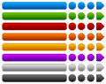 Set of rectangle, circle, starburst buttons, banners and arrows. Royalty Free Stock Photo