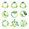 Set Recycle Leaf Arrow Circle Logo Design Vector