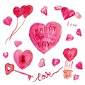 Set of red and beige watercolor heart-shaped clipart for Valentines Day. Lettering Love, key and lock, heart with wings, balloons