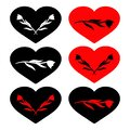 Set of red and black heart symbols with silhouette of flowers inside. Conceptual vector clipart and drawing. Royalty Free Stock Photo
