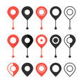 Set of red and black map pin