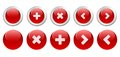 Set of red buttons for web design Stock Photography