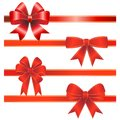 Set from red christmas bows