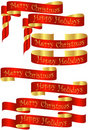 Set of Red Christmas Holiday Banners